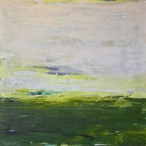 yellow and green acrylic abstract landscape square painting