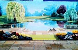 trompe loeil mural hand painted optical illusion landscape trees lake sky grass flowers scenery