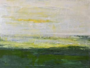 yellow and green acrylic abstract landscape, horizontal painting