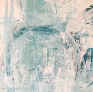Grayish and white 36 x36in art