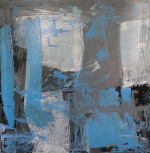 abstract blue , grey and white art. square