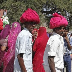 "src=""australian womens travel.jpg alt=womens tours,two rajasthani men with red turbans , India"