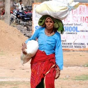 "src=""australian womens travel.jpg alt=womens tours,woman carrying a load, rajasthan , India"