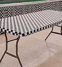 Black-White Check Plastic Elastic Table Cover