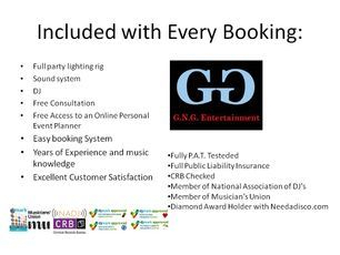 Included with every booking with GNG Disco