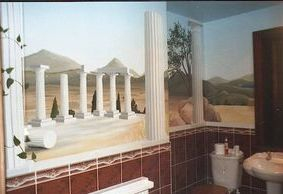 greek vista trompe loeil optical illusion columns mural hand painted