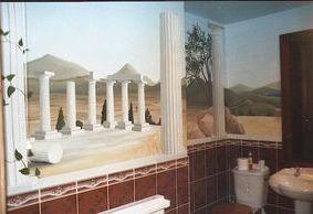 greek vista trompe loeil optical illusion columns mural hand painted