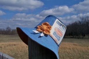 Denim Garden Hat Featuring a Feed Sack