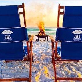 Bonfire through chairs