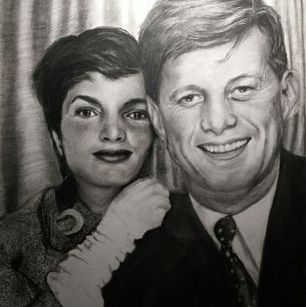 President Kennedy and Jackie, charcoal drawing art