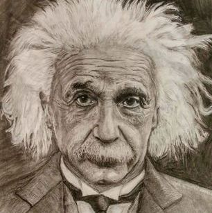 Einstein portrain art charcoal drawuing