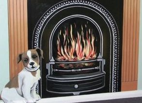 fire fireplace iron warmth wood brick Victorian dog mural hand painted optical illusion