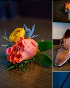 Free spirit rose with yellow ranunculus and thistle boutonniere