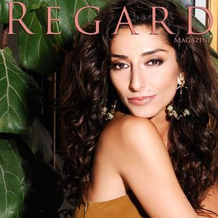 Regard  Magazine featuring Bravo TV Girlfriends Guide To Divorce Star Necar Zadegan wearing Lillian Bronze Gown in Hollywood California