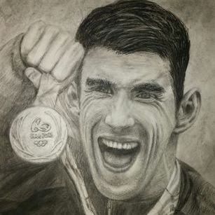 Phelps, charcoal drawing
