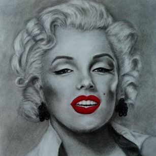 Marilyn Monroe, charcoal portrait