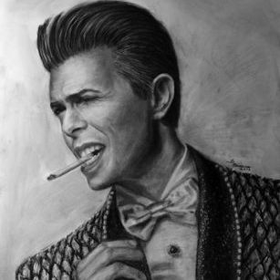 David Bowie charcoal drawing
