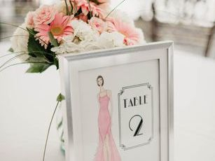 wedding fashion sketch for table numbers