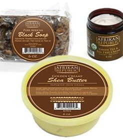 Combining three of the most popular Afrikan Republic brand products, we created this unique gift set that offers the best black soap, Shea butter and Green Tea & Tea Tree Cream in one package. Leave a lasting impression on Mother's Day or any special occasion and make her feel even more special. Gift Set Includes one (1) of each: Pure African Black Soap  Enjoy fresh, radiant skin with the help of Africa's natural healers. This pure black soap has been used for centuries throughout Africa, where it is considered the very best way to cleanse the skin.