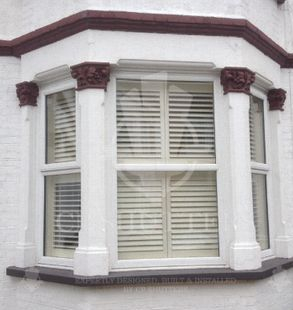 Interior wooden window shutters, installed in a bay window, situated in the heart of Essex. Designed by CP Shutters.