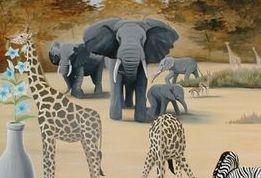 waterhole mural desert sand hot elephants africa giraffe