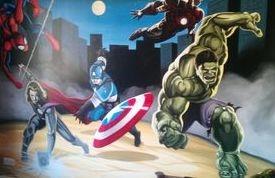 superhero mural avengers marvel dc comics hero fight run captain america hulk spiderman moon night mural hand painted thor black widow