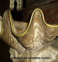 "src=""australian womens travel.jpg alt=womens travel,giant clam shell holy water font , paris france """