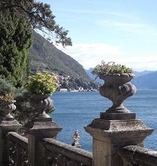 "ours.jpg alt=womens travel, urns on a fence at villa monastero, varenna, lake como, italy"">"