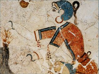 Santorini Ancient Greek Fresco, woman collecting Safran