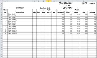 Estimating excel sheet