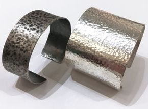 hand made chunky silver hammered texture cuff