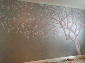 tree silver pink blossom baby children room white pretty mural hand painted girl magical