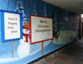 christmas winter snowman mural