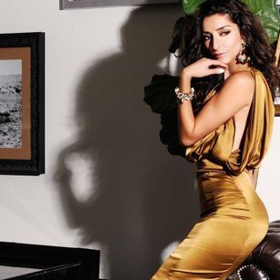 Regard Magazine featuring  Bravo TV Girlfriends Guide To Divorce Star Necar Zadegan wearing the Lillian Gown  designed by Amy Marie Goetz Fashion