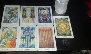 Tarot Spread with Selenite Pillar