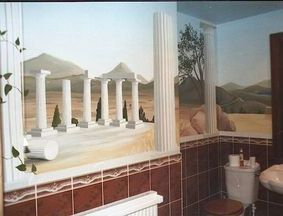 greek vista holiday mural hand painted trompe loeil optical illusion pillars columns ruins white