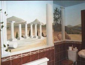 greek vista holiday mural hand painted trompe loeil optical illusion pillars columns ruins white