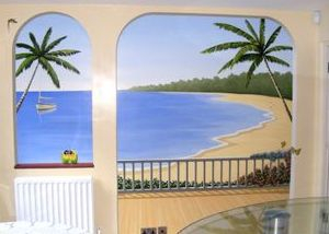 beach mural trompe loeil palm trees sand sea hand painted veranda landscape view island tropical