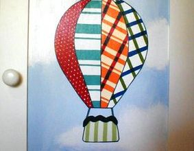 patchwork sky mural clouds hand painted childrens bedroom air balloon airballoon basket fly baby