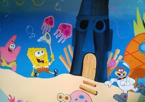 spongebob sponge bob square pants mural childrens bedroom under the sea ocean blue hand painted sand funny cartoon animation
