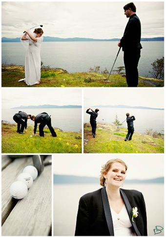 Golfing on our wedding day