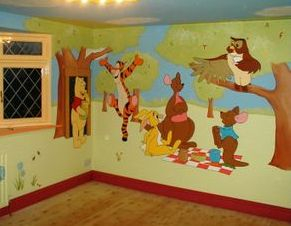 winnie the pooh cartoon drawing animation mural tigger owl eeyore forest trees hand painted