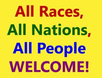 All races, all people welcome logo