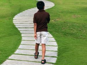 boy walking on wooden trail in green grass