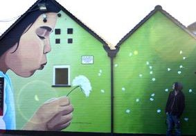 spring mural pub hand painted green dandelion girl blowing wish