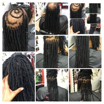 Braids by Bee loves to help clients with natural locs repair locs and create bridge coverage for balding areas as needed.  These bridges are customized.