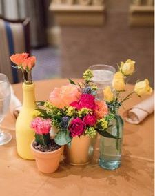Fiesta table flowers with cacti