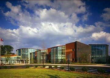 multi-story curtain wall installation at Danville Institute for Advanced Learning