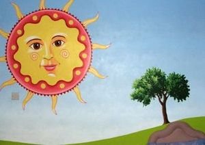 day night mural sky hand painted trees grass moon sun sunshine