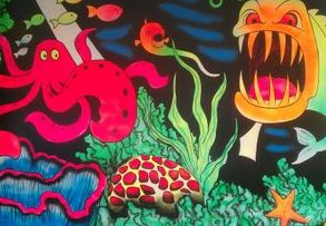 fluorescent mural hand painted fish underwater sea bottom coral